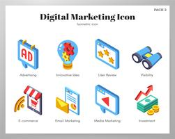 Digital-Marketing-Ikonen Isometic-Satz vektor