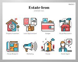 Fastighetsikoner LineColor vektor