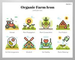 Organiska gård ikoner set