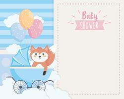 Babyduschkort med räv i vagn vektor