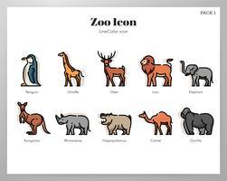 Zoo-ikoner LineColor-paket vektor