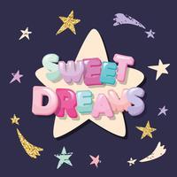 Karikaturbuchstaben und -sterne der süßen Träume auf einem dunklen Hintergrund. vektor