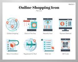 Online shopping ikoner pack vektor