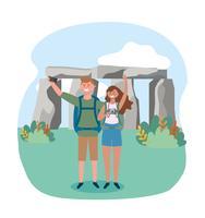 Paare, die Foto vor stonehenge machen