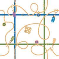 Seamless mönster med kedjor, bälten, hänge och tofsar