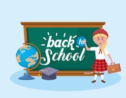 Tillbaka till skolmeddelandet på svarta tavlan med den kvinnliga studenten vektor