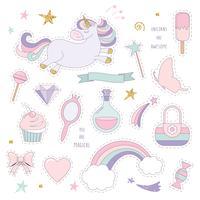Unicorn magi set med regnbåge, stjärnor och godis. vektor