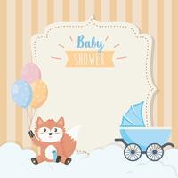 Babyduschkort med räv med vagn vektor