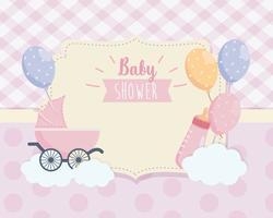 Babyduschetikett med vagnflaska och ballonger vektor