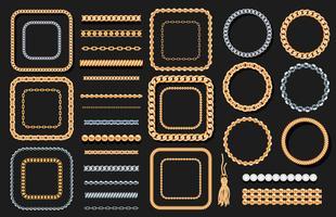 Uppsättning av guld- och silverkedjor, rep, pärlor på svart. Smycken lyxiga dekorativa element