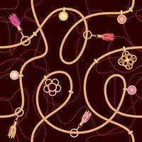 Nahtloses Muster mit Ketten, Anhänger und Quasten