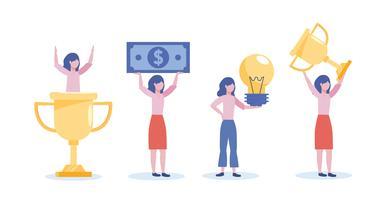Satz Geschäftsfrauen mit Schalenpreisrechnung und Glühlampe