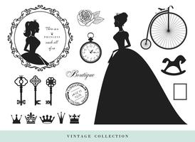 Vintage silhuetter set. Prinsessor, gamla nycklar, kronor, frimärken. vektor