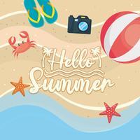 Hej sommarmeddelande på sand med strandboll och sandaler