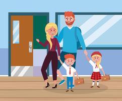 Far och mor med barn i skolan vektor