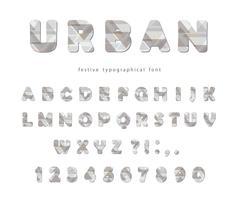 Moderna urbana teckensnitt. Stiliserade bokstäver och siffror