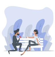 Mann, der zu einer Frau sitzt auf Bank vorschlägt