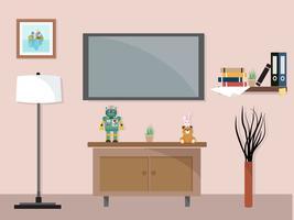 Vardagsrum med tv-möbler arbetsyta