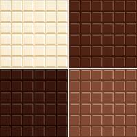 Sömlös chokladstångmönsterbakgrundsuppsättning - vit, mjölk, mörk och extra mörk. vektor