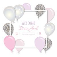 Luftballons in Papier ausgeschnitten quadratischen Rahmen. Geburtstags- und Mädchenbabypartyentwurf. vektor