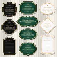 Vintage gyllene ramar och etiketter set. vektor