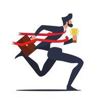 Affärsman som kör till mållinjen med trofén vektor