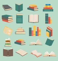 Satz Bücher in der flachen Designsammlung