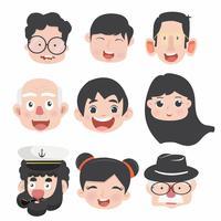 Samling av roliga tecknad avatarer vektor