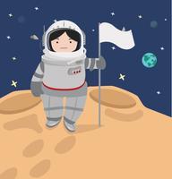 Liten flicka astronaut i ett utrymme