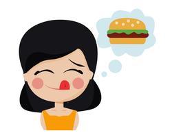 Hungrig flicka dagdrömma vektor