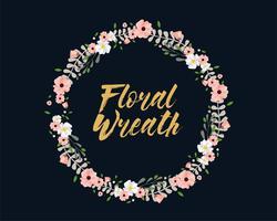 Rosa och vit blommig krans vektor