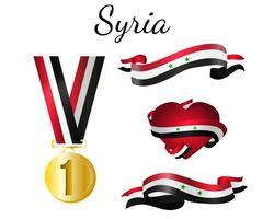 Syrien Medalj Flagga vektor