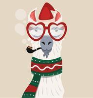 Alpaka mit Weihnachtsmütze und Schal vektor
