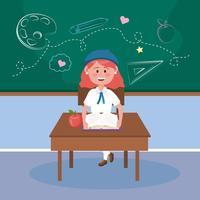 Flicka med rött hår som sitter vid skrivbordet i klassrum vektor
