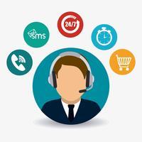 Flat Kundendienstmitarbeiter mit umlaufenden Symbolen