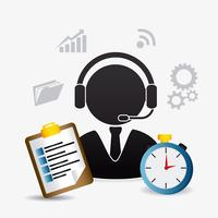 Piktogramm und Web 2.0 Kundendienstmitarbeiter