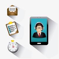 Mobil smart telefon Kundtjänst support web 2.0 vektor