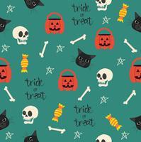 Halloween nahtlos mit Kopfmuster der schwarzen Katze vektor