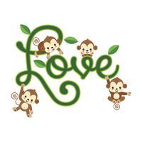 Små apor som hänger på LOVE-bokstäver. vektor