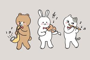 Karikatur niedlich zurück zu den Schultieren, die Musik in der Klasse spielen