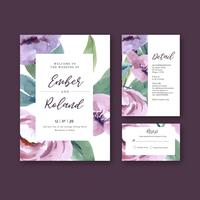 Vacker akvarell blommig lila bröllop inbjudningskortuppsättning vektor