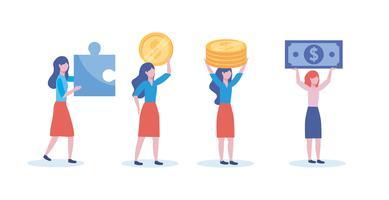 Satz Geschäftsfrauen mit Geld und Puzzlespielstücken vektor