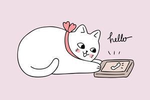 Gullig katt för tecknad film som talar på mobiltelefonen