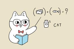Lehrerkatze, die Zeiger an der Gleichung hält