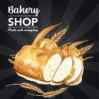 Brödbrödbageributik Mall för sociala medier vektor