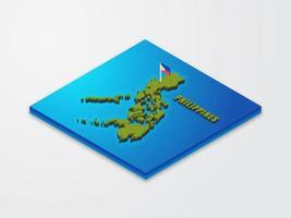 3D Isometrische Karte Der Philippinen vektor