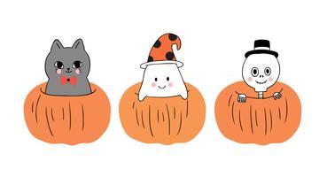 Halloween, katt och spöke och skelett i stor pumpa
