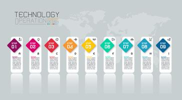 Business infographic med tio steg.