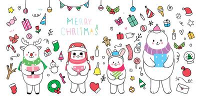 Tiere und Element Weihnachten vektor