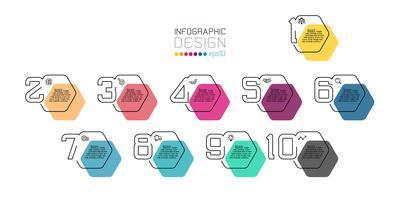 Schwarze Linie minimales Infographic-Design auf Hexagonform mit 10 Schritten